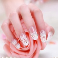 французские кружева оптовых-Nail Art Lace Stickers Decals 3D French Style White Lace Bow Nail Art Sticker Decal Manicure Tip Decoration Tools