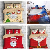 Wholesale santa claus cotton queen for sale - Christmas Bedding Sets D Cartoon Bedclothes Queen Twin King Size Kids comforter sets Duvet Cover Pillowcases Santa Claus Xmas Decor Gifts