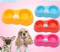 ingrosso ciotola di tazza di canna-Pet Dog Cat Kitten Dual Feeder Bowl bere Drink Fontane d'acqua Alimentatori per cani Distributore di cibo Feeder Cat Drinking Bowl Cup VVA323