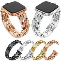 браслеты из хрусталя оптовых-Crystal Rhinestone Stainless Steel Watch Wrist Band Strap For Fitbit Versa Smart Watch Replacement Metal wristband Bracelets