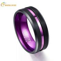 anillos púrpuras masculinos al por mayor-Purple Inner Ring Scrub Groove Men Anillos Carburo de Tungsteno Anillos Para Hombres Joyería de Moda Masculina Envío de la gota T190627