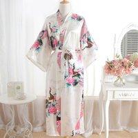 batas de lenceria impresas al por mayor-Batas de seda para mujeres Estampado de flores sexy Togas de encaje Kimono Bata de baño Ropa interior Camisón Conjunto de camisón Ropa de dormir de satén