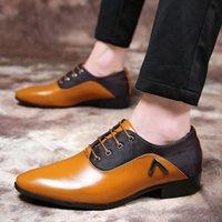 zapatos de cuero marrón para hombres al por mayor-Zapatos italianos para hombres, elegantes, para hombre, zapatos de oficina, coiffeur de cuero, vestido marrón, zapatos oxford para hombres, vestidos formales, tamaño grande, chaussure homme ayakkabi