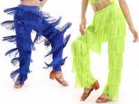 ingrosso costume delle frange delle ragazze-Nuovo arrivo Samba nappa costumi di ballo latino ragazze Salsa sala da ballo Fringe danza pantaloni costume da ballo adulto vestito da ballo