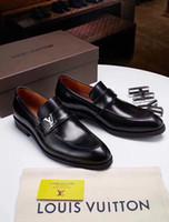 spitzen männer schuh großhandel-Top luxuriöse britischen Stil Männer Business Kleid Schuhe PU Leder schwarz Spitze formale Hochzeit Schuhe Zapatos De Hombre Müßiggänger für Männer