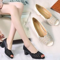 44064f92c94e Open Toe Pumps Black High Heels Dress Shoes Summer Sandals White Wedding  Shoes Hollow Out Pumps Peep Toe Boat Shoes 6891