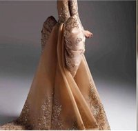 Wholesale zuhair murad backless bow for sale - Group buy Evening dress Yousef aljasmi Labourjoisie Zuhair murad A Line Jewel Long Sleeve Backless Tulle Bow Qppliqued Lace Long Dress James Paul
