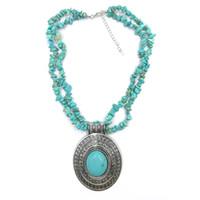 diseños únicos collar de plata al por mayor-Colgante ovalado de piedra natural collar de turquesas para mujeres Vintage Antique Silver Plated diseño único joyería de moda