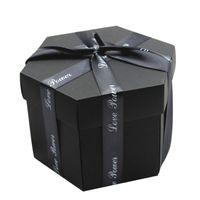 kraftpapieralben großhandel-Hexagon große Überraschung Explosion Box Blooming Scrapbook Fotoalbum Valentine Geschenk Kraft Paper DIY ein magisches spezielles Foto
