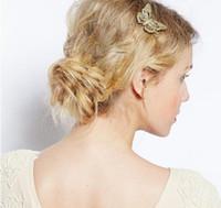 pinza de pelo mariposa oro al por mayor-2017 Amazing Coming Gold Butterfly Hair Accesorios para el cabello Clip Diadema Cabeza Decoración Regalo de boda