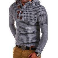 sweater sweater venda por atacado-Litthing 2019 Mens Zip suéter de lã capuz manga comprida Half-Zipper camisola Jumper Knitwear Inverno Cashmere Outerwears For Men