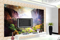 деревенская настенная живопись оптовых-Пользовательские 3D стереоскопический Walpaper пейзаж картина маслом горная деревня обои гостиная фото Обои Обои Обои home decor