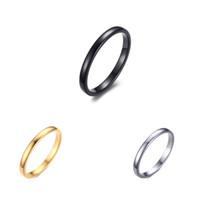 ingrosso anelli in titanio di tungsteno-Vendita calda Titanium Stainless Steel Anello da donna compatto e semplice da 2MM con anello in acciaio al tungsteno nero Wedding Lover Rings Bague Femme