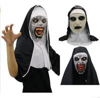 trajes de monja al por mayor-La máscara de Halloween Horror Nun Cosplay Valak máscaras de látex Scary Halloween Party completa Casco Demonio Cara Complementos Disfraz