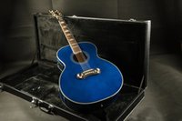 Wholesale guitar for sale - Top Quality E J200C Jumbo Electric Acoustic Guitar Fishman EQ Mahogany Neck Grover Tuner Blue Color