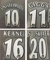 ingrosso adesivo di numerazione-1998 1999 Manchester retro bianco stampa nome del calcio GIGGS KEANE BECKHAM stampaggio del giocatore numerazione calcio stampato adesivi vintage