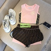 parçalar yüksek bel şortları toptan satış-Kadın Kumaş Spor Örgü Iki Parçalı Pantolon Mektubu Baskı Ile Yelek Tops T-Shirt Tee + Koşu Yüksek Bel Silm Şort Gömlek Set
