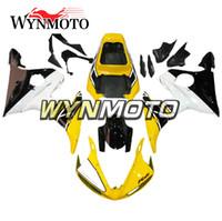ingrosso giallo nero r6-Carenature per motocicli nero bianco giallo per Yamaha YZF 600 R6 2005 05 Coperture per motocicli per motocicli di iniezione di plastica ABS
