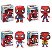 виниловый паук оптовых-Funko POP Spider Man Homecoming Bobble Head винил фигурку игрушка подарок #03 #220 #222 #265 Рождественский подарок