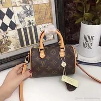 ingrosso borsa a tracolla marrone-2019 Fashion Women Famous Canvas Leather Mini Drawstring Handbags Designer Classic Brown Shoulder Bags Speedy20 20cm Borsa a tracolla con scatola