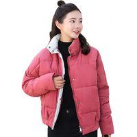 koreanische weibliche jacke stil großhandel-2018 Mode Frauen Winter Jacke Korean Style Stehkragen Breasted buttons Weiblich Gepolsterte Mantel Outwear Chaqueta Mujer Invierno