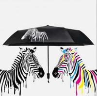 Wholesale color sun umbrella resale online - Zebra Color Changing Umbrella Sunshade Folding Umbrella Anti UV Folding Outdoor Sunshade Folding Rain Sun Umbrellas OOA6150