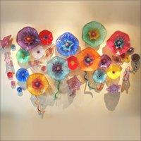 arte moderna venda por atacado-Placas Fantasia Multicolor Murano vidro Moder Art Deco personalizado vidro Murano Walll Lâmpadas Chihuly Estilo Hanging Art parede de vidro para Home Decor