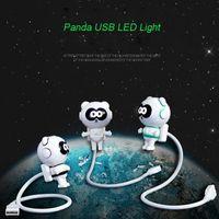 carregador usb lâmpadas venda por atacado-Flexível bonito Panda USB Powered Mini LED Night Light Com ON OFF Interruptor Lâmpada de Leitura Lâmpada para Laptop PC Powerbank Carregador