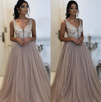 Wholesale nude tulle cocktail dress resale online - 2019 Deep V Neck Tulle A Line Evening Dresses Beaded Stones Top Floor Length Formal Party Cocktail Prom Dresses BC0906