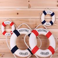 boya salvavidas al por mayor-4 Tamaño Azul Marino Mediteranean Sea Life Buoy Pegatinas de Pared Colgando Lifebuoy Para Bar Decoración Del Hogar Atrezzo Vida Náutica anillo de Boda artesanías