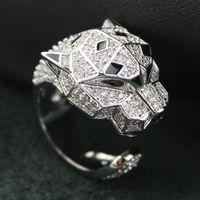 dong animal al por mayor-Nueva llegada Luxury Silver Leopard rings para mujer big animal leopard head rings dong setting Cubic Zirconia para anillo famale