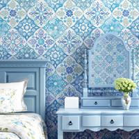 обои в средиземноморском стиле оптовых-Fresh Wallpaper of copy ceramic tile Bohemia style Mediterranean southeast Asia style sitting room bedroom TV setting wallpaper