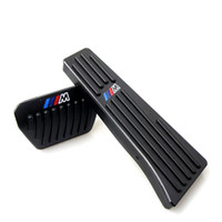 otomatik pedallar toptan satış-BMW Için hiçbir Matkap Gaz Fren Pedalı 1 3 4 5 6 Serisi X1 X3 X5 X6 Oto Alüminyum gaz gaz pedalı ve fren pedalı AT M Logo Ile AT