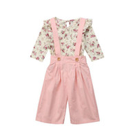 Wholesale outfit clothes for sale - kids designer clothes girls Floral outfits children Flower tops strap pants set Spring Autumn baby Overalls Clothing Sets C6720