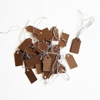 kraft papier tags string groihandel-Papierschneidemaschine New Preisschild 100Pcs Brown Kraft String Blanks Wedding Favor Preis Label-Papier Pricing-Tags Mit Seil 22x13mm