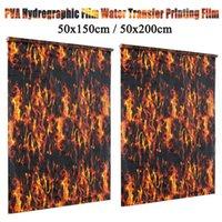 ingrosso auto decalcomania nera-50x150cm / 50x200cm PVA Idrografico Black Flame Water stampa di trasferimento idro Dip Film Car Decal