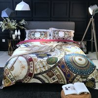 Wholesale horse bedding sets full size online - 100S Egyptian Cotton Tribute Silk Bedding Set print horse Boho Duvet Cover Set King Queen Size home Bedding Sheets Set