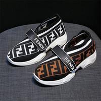 gancho de verano al por mayor-FF Brand Designer Sock Shoes Fends Mujer Summer Skateboard Calzado deportivo Moda Slip-on Kint Mocasines Hook and Loop Zapatillas de deporte de ocio B81405