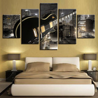 Wholesale guitar art posters resale online - Home Decor Canvas Living Room HD Printed Modern Panel Guitar Building Music Pictures Painting Wall Art Modular Poster Frame