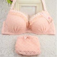 jovens sutiãs venda por atacado-Meninas Lady Lingerie Push-Up 3/4 Cup Cueca Underwear Bra Panty Set Senhora
