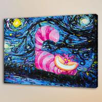 dijital panel küçük toptan satış-Cheshire Cat, Ev Dekorasyonu HD Baskılı Modern Sanat Boyama Tuval üzerine (Çerçevesiz / Çerçeveli)