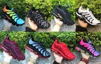 zapatillas grises azules al por mayor-2019 TN Plus Hombres Zapatillas de running Triple Negro Blanco Foto de Sunset Blue Wolf Gray EE. UU. Zapatos de diseño Zapatillas de deporte deportivas Chaussures