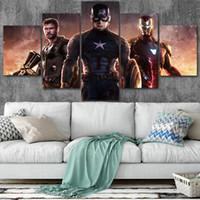 ingrosso grandi pitture di tela per arredamento casa-Marvel Big Three Canvas Poster Home Decor Wall Art Quadro 5 pezzi Quadri per soggiorno HD Stampa immagini moderne