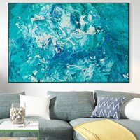 Wholesale ocean panel painting resale online - Abstract Modern Seascape Canvas Oil Painting Blue Ocean Posters and Prints Modern Scandinavian Art Pictures for Living Room Wall Decor