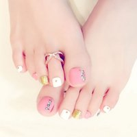 nagelspitzen füße großhandel-NEUE 24 Teile / satz 3D Toe Gefälschte Nägel Mit Kleber Fuß Volle Zehen Nail art Tipps Lady Girl Falsche Nägel