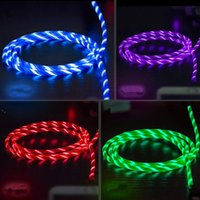 Wholesale data usb lighting cable online – 2 A M Visible Flowing LED Light Up Charging Cable type C Micro USB Charger Data Sync Cable For Smart phones Tablet PC data cable USZ189