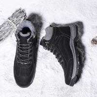 shorts acolchados para hombre al por mayor-Calentar Hombres Botas de invierno nueva gran hombre de la nieve botas de terciopelo acolchado Alto-top zapatos de algodón impermeable antideslizante Corto Clásico