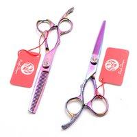mãos jp venda por atacado-Tesoura Mão Esquerda 5,5 polegadas colorido JP 440C roxo Dragão do cabeleireiro corte Shears tesoura diluindo Hair Salon