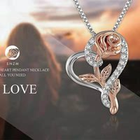 Wholesale sterling silver chain 55cm for sale - Group buy 925 Sterling Silver Rose Necklace for Women A Cubic Zirconia Love Heart Pendant Necklace Christmas Jewelry Gifts