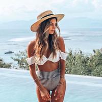 qualität bikinis umsatz großhandel-Frauen Split Sexy Badeanzug Hohe Qualität Komfortable Atmungs Bikini Heißer Verkauf Hohe Taille Polka Dot Print frauen Bikini